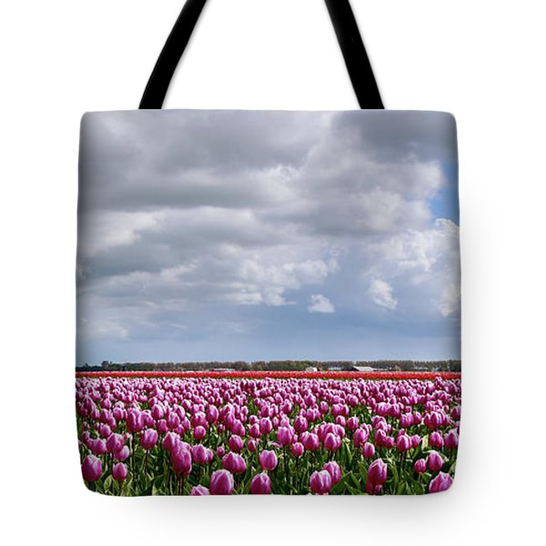 Clouds Over Purple Tulips Tote Bag