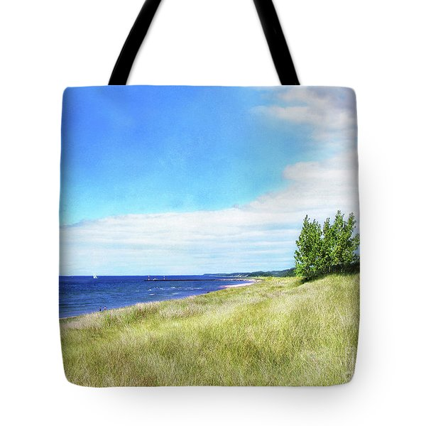 Clouds Over Shoreline Tote Bag by Kathi Mirto