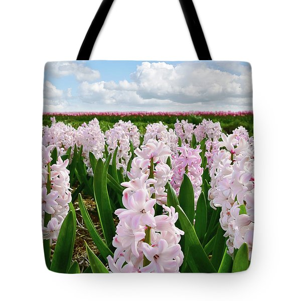Clouds Over The Pink Hyacinth Field Tote Bag