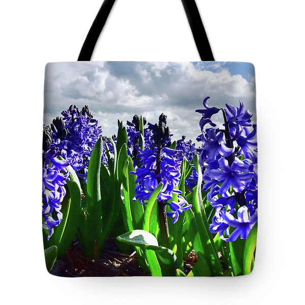 Clouds Over The Purple Hyacinth Field Tote Bag