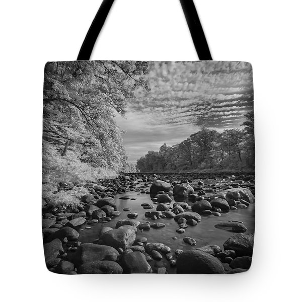 Clouds Over The River Rocks Tote Bag