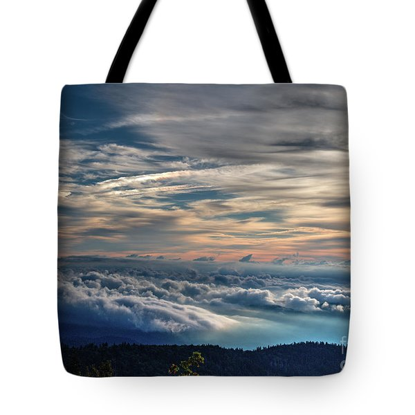 Tote Bag featuring the photograph Clouds Over The Smoky's by Douglas Stucky