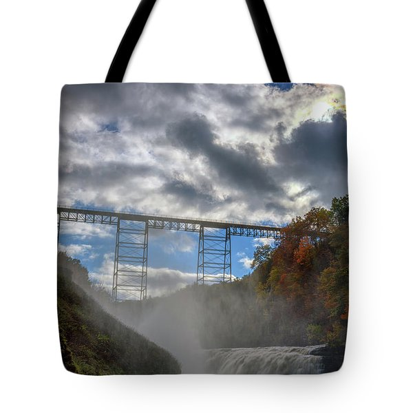 Clouds Over Upper Falls Tote Bag