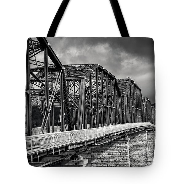 Tote Bag featuring the photograph Clouds Over Walnut Street Bridge In Black And White by Greg Mimbs