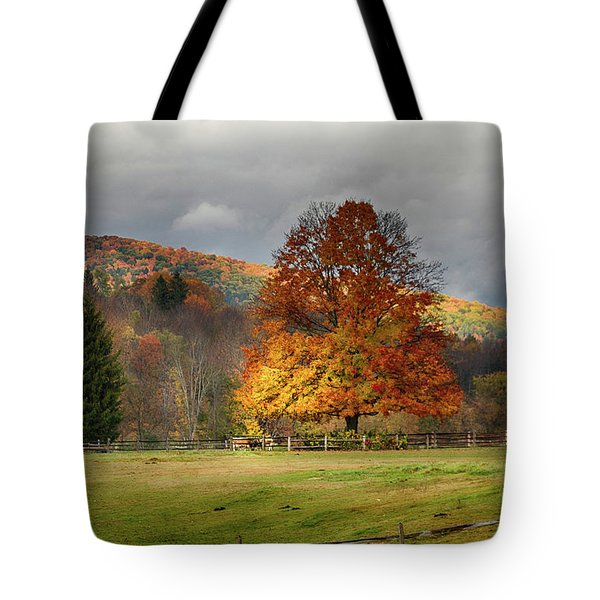 Clouds Part Over Marsh Billings-rockefeller Nhp Tote Bag
