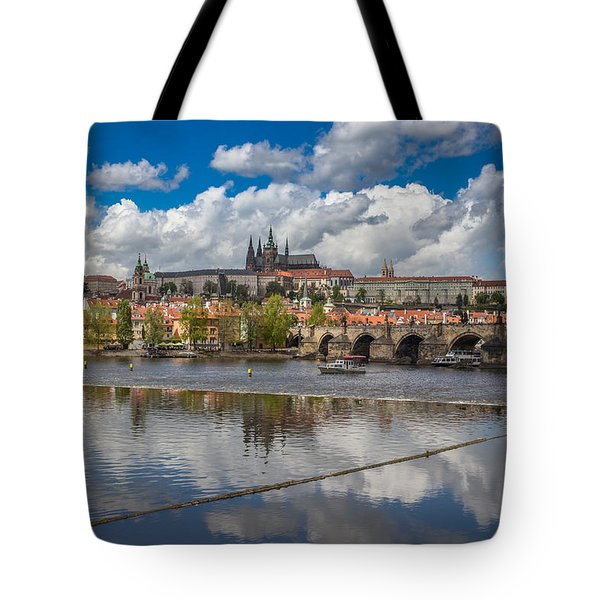 Clouds Reflecting In The Vltava River With Prague Castle Charles Bridge St Vitus And St Nicholas Tote Bag