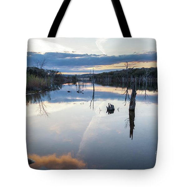 Clouds Reflecting On Large Lake During Sunset Tote Bag