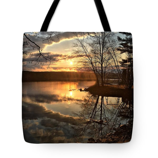 Clouds, Reflection And Sunset  Tote Bag