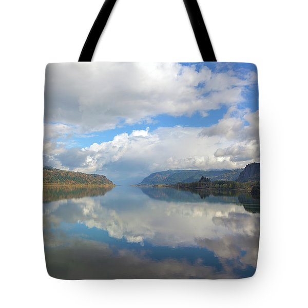 Clouds Reflection On The Columbia River Gorge Tote Bag by David Gn