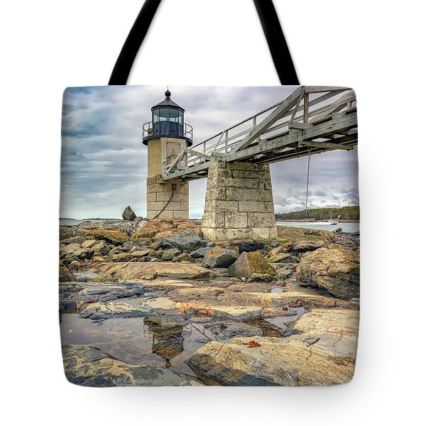 Tote Bag featuring the photograph Cloudy Day At Marshall Point by Rick Berk