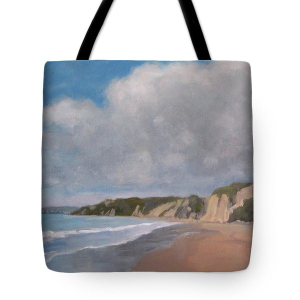 Tote Bag featuring the painting Cloudy Day At Summerland Beach by Jennifer Boswell