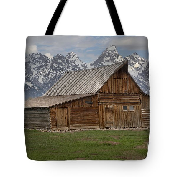 Cloudy Day At The Moulton Barn Tote Bag by Adam Jewell