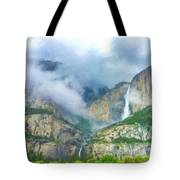 Cloudy Day At Yosemite Falls Digital Watercolor Tote Bag