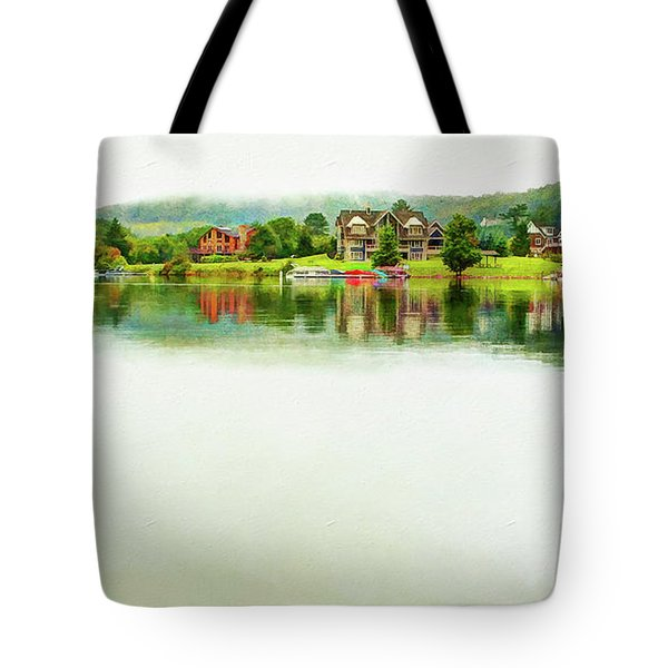 Cloudy Day On The Lake Tote Bag
