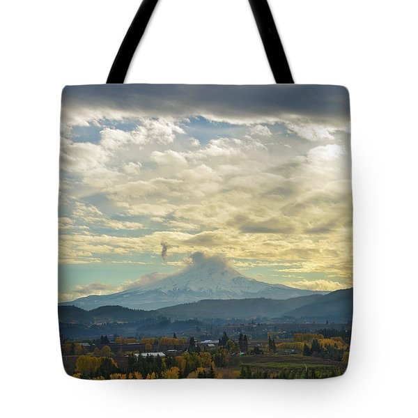 Cloudy Day Over Mount Hood At Hood River Oregon Tote Bag