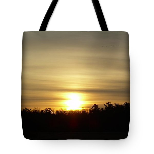 Tote Bag featuring the photograph Cloudy Golden Sky At Dawn by Kent Lorentzen
