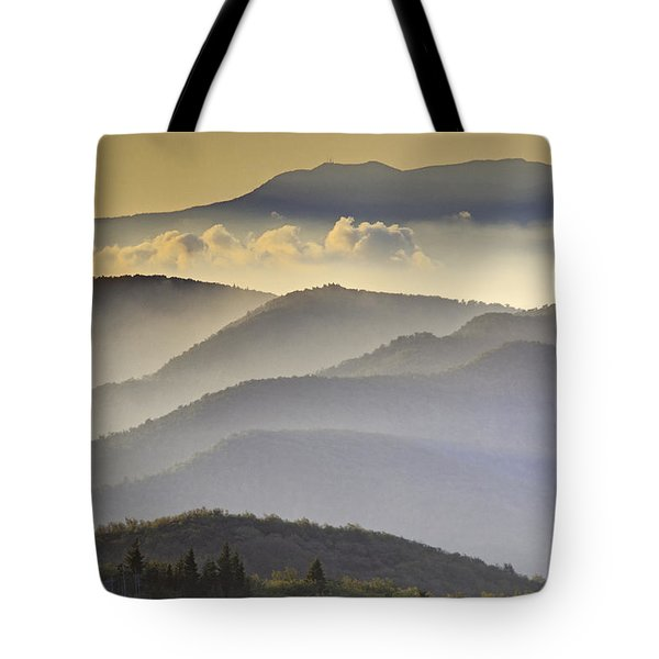 Cloudy Layers On The Blue Ridge Parkway - Nc Sunrise Scene Tote Bag by Rob Travis