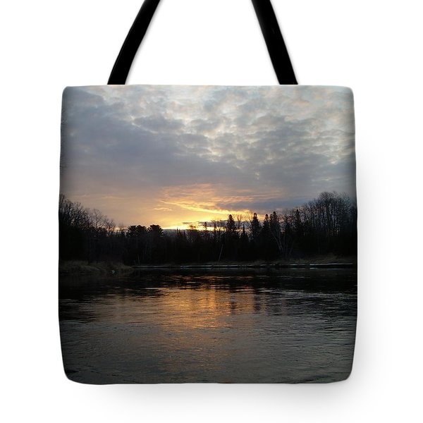 Tote Bag featuring the photograph Cloudy Mississippi River Sunrise by Kent Lorentzen