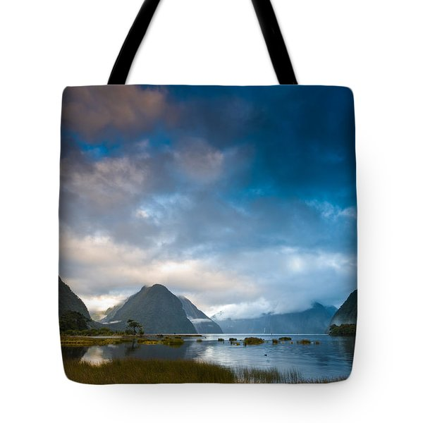 Cloudy Morning At Milford Sound At Sunrise Tote Bag
