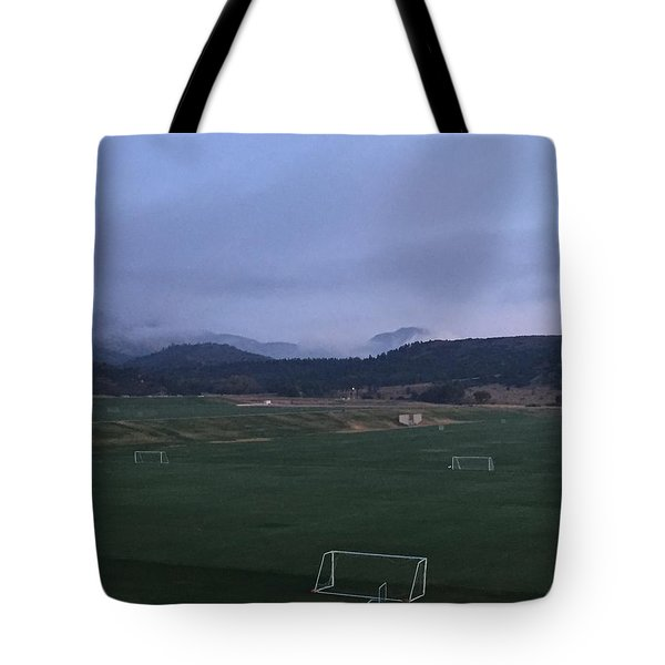 Cloudy Morning At The Field Tote Bag by Christin Brodie