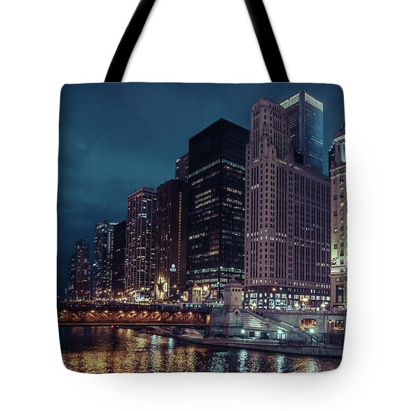 Cloudy Night Chicago Tote Bag