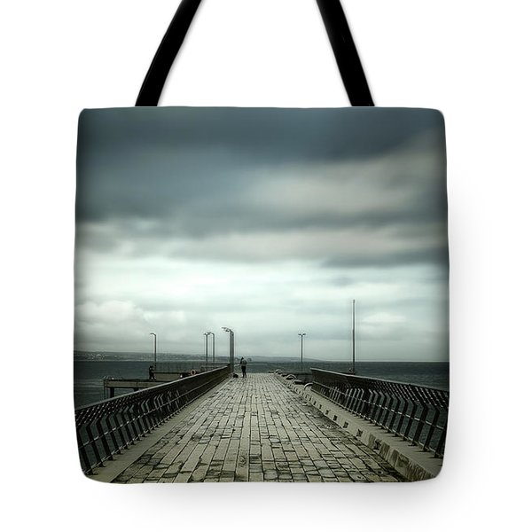 Tote Bag featuring the photograph Cloudy Pier by Perry Webster