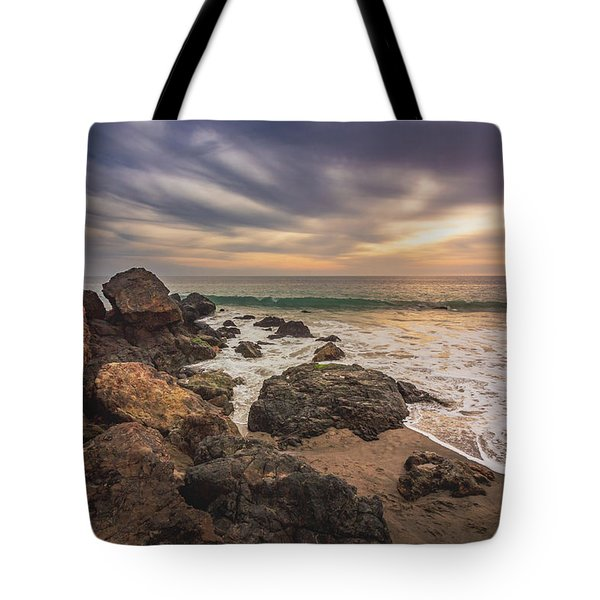 Tote Bag featuring the photograph Cloudy Point Dume Sunset by Andy Konieczny