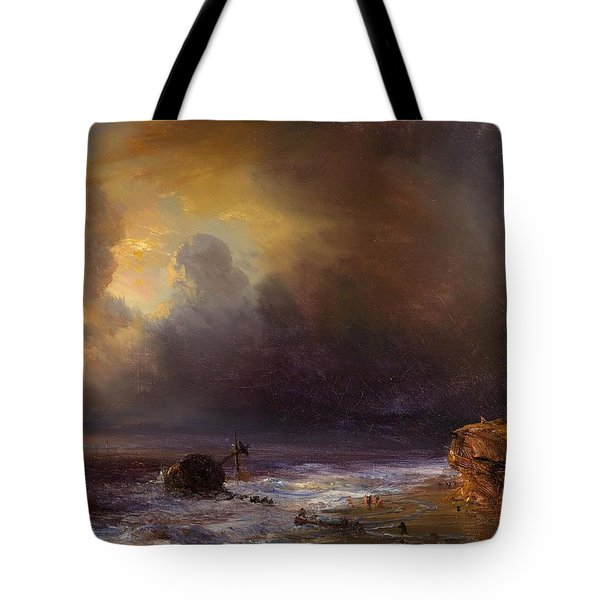 Cloudy Sky Above A Beach Tote Bag by Jean Antoine Theordore Gudin