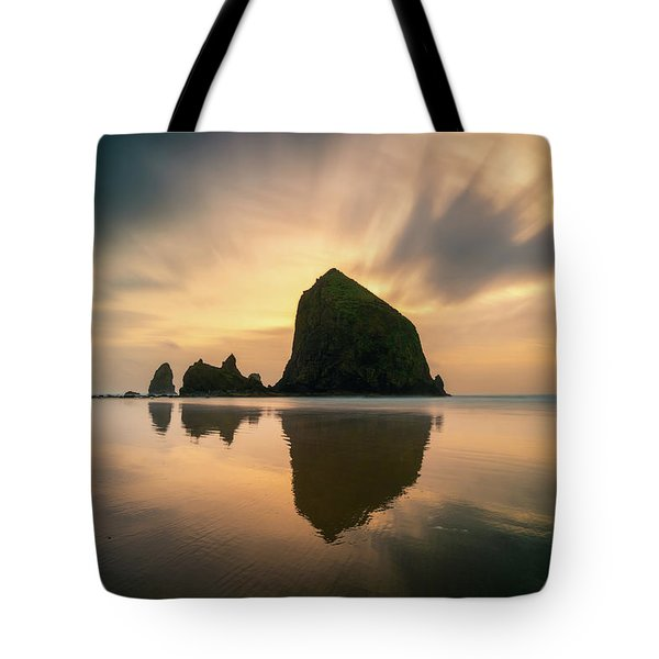 Cloudy Sunset At Cannon Beach Tote Bag
