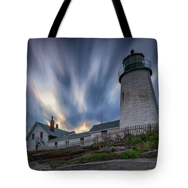 Cloudy Sunset At Pemaquid Point Tote Bag