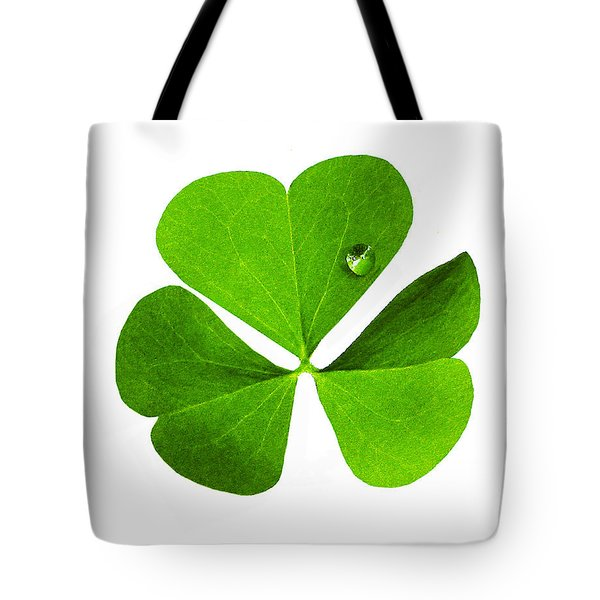Tote Bag featuring the photograph Clover And Water Droplet by Roger Bester