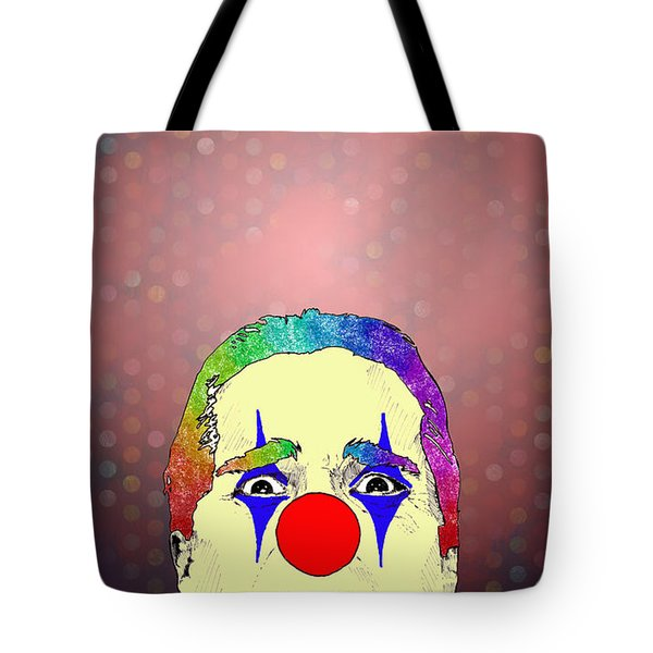 Tote Bag featuring the drawing clown Christian Bale by Jason Tricktop Matthews