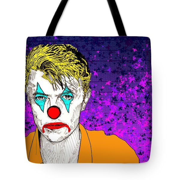 Tote Bag featuring the drawing Clown David Bowie by Jason Tricktop Matthews