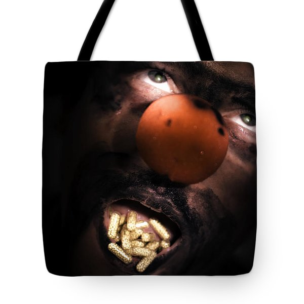 Clown With Capsules In Mouth Tote Bag