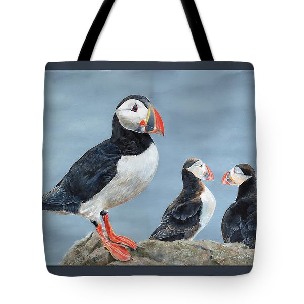 Tote Bag featuring the painting Clowns Of The Sea. by John Neeve