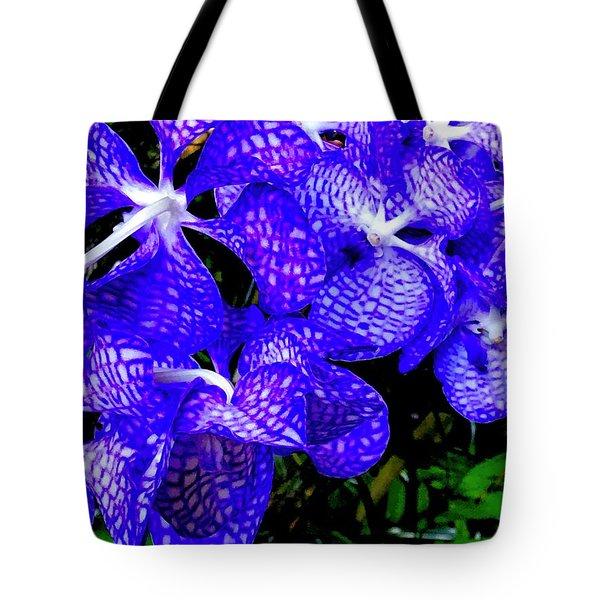 Cluster Of Electric Blue Vanda Orchids Tote Bag
