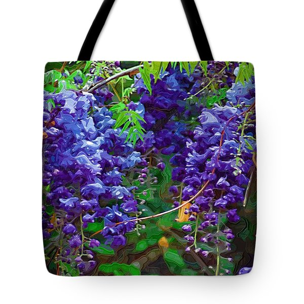 Tote Bag featuring the photograph Clusters Of Wisteria by Donna Bentley