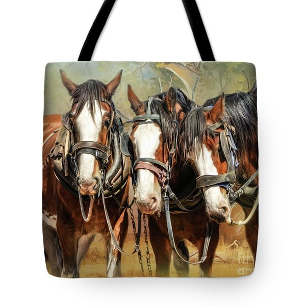 Tote Bag featuring the digital art  Clydesdale Conversation by Trudi Simmonds