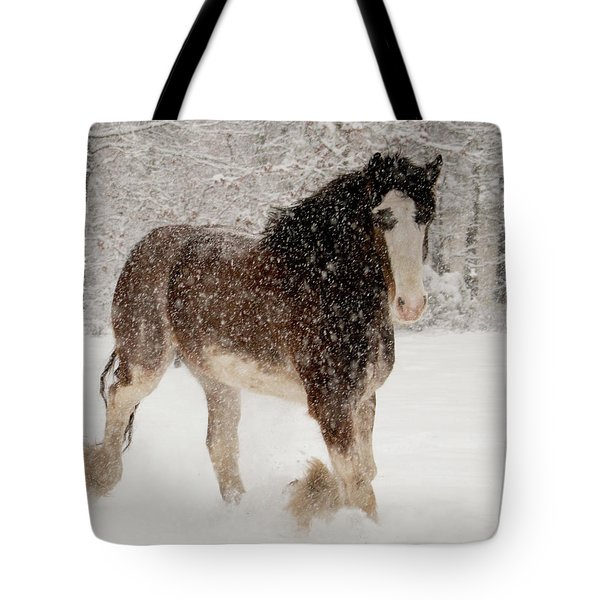 Clydesdale In The Snow Tote Bag