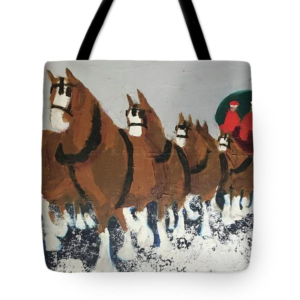 Tote Bag featuring the painting Clydsdale Horses Bringing Home The Tree by Donald J Ryker III