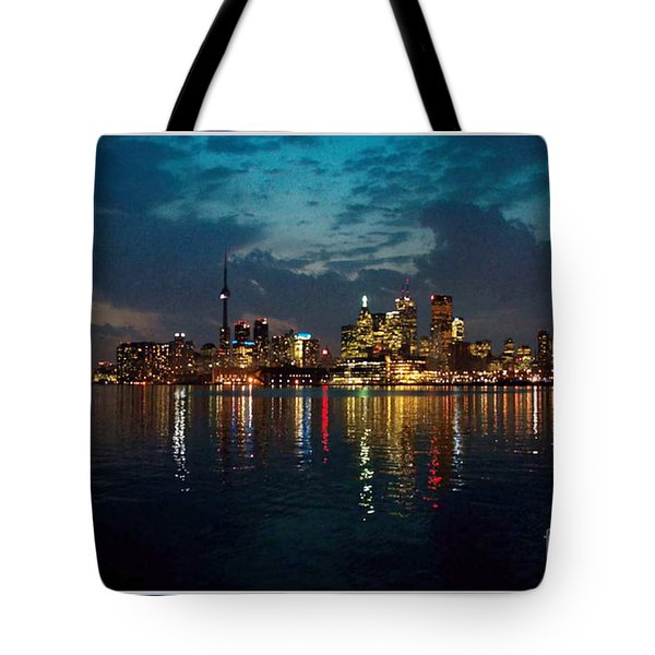 Cn  Tower And Toronto Down Town Water Front Beauty At Night Full Blast Photo Tote Bag