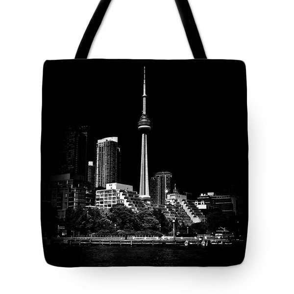 Tote Bag featuring the photograph Cn Tower From Bathurst Quay Toronto Canada by Brian Carson