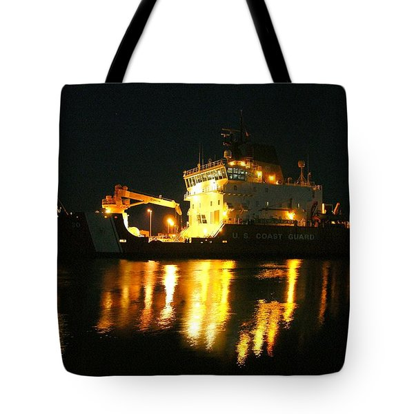 Coast Guard Cutter Mackinaw At Night Tote Bag by Keith Stokes