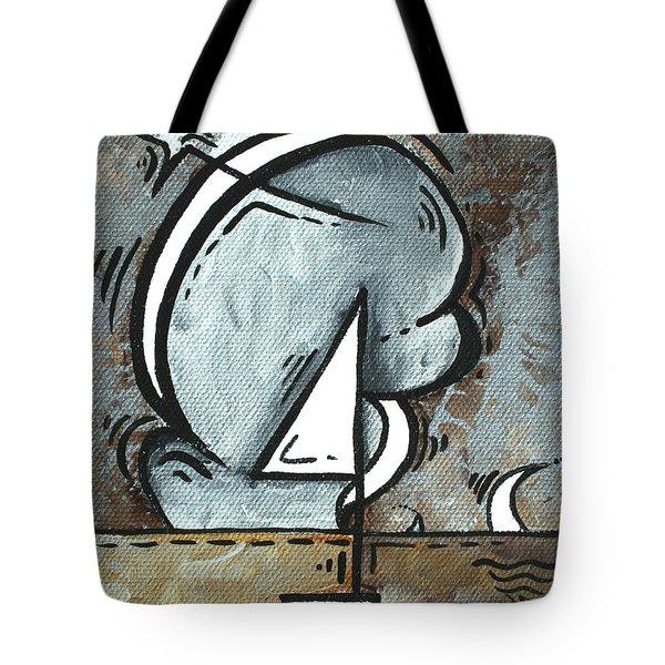 Coastal Art Contemporary Sailboat Painting Whimsical Design Silver Sea I By Madart Tote Bag by Megan Duncanson