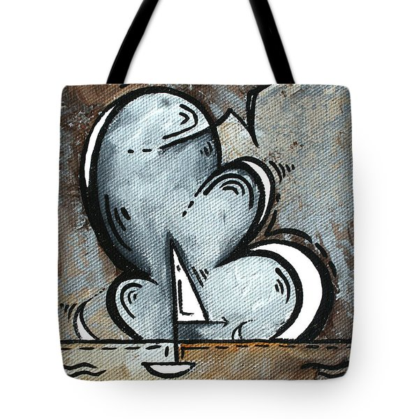 Coastal Art Contemporary Sailboat Painting Whimsical Design Silver Sea II By Madart Tote Bag by Megan Duncanson
