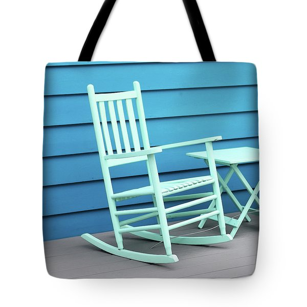 Coastal Beach Art - Blue Rocking Chair - Sharon Cummings Tote Bag