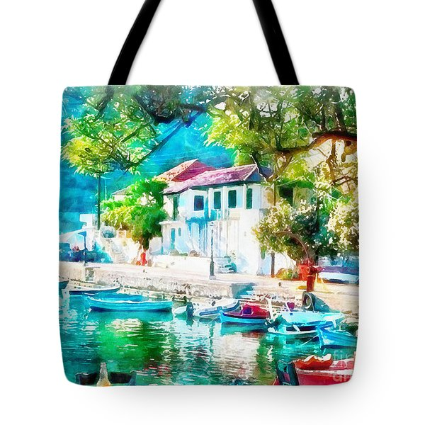 Coastal Cafe Greece Tote Bag