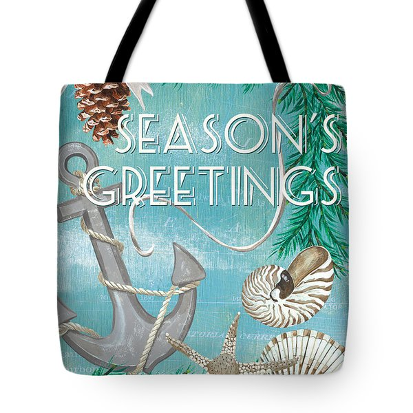 Coastal Christmas Card Tote Bag