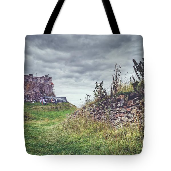 Tote Bag featuring the photograph Coastal Lindisfarne by Ray Devlin