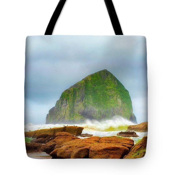 Coastal Storm At Haystack Tote Bag